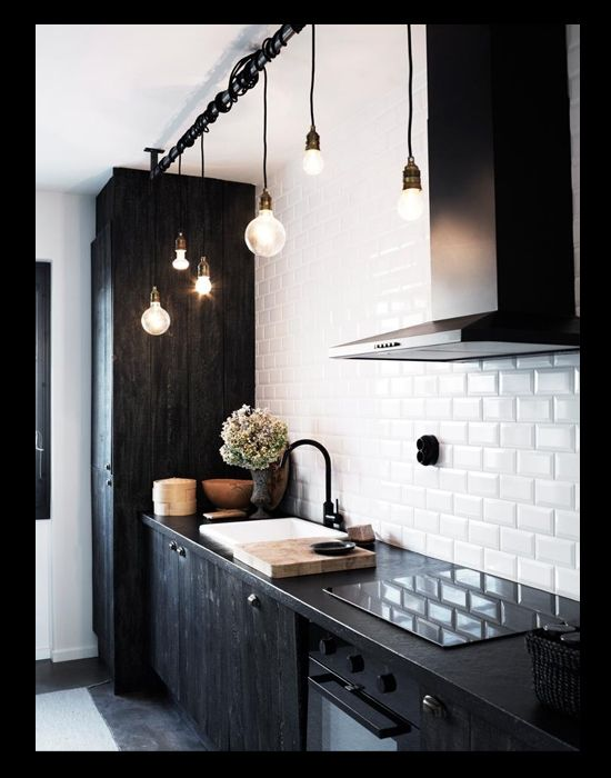 Bare Bulb Black Kitchen Pendants