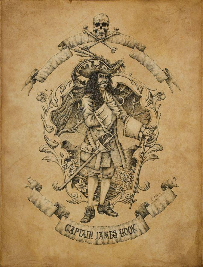 Captain James Hook- a cool villainous poster