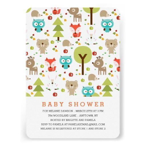 modern woodland friends neutral baby shower card