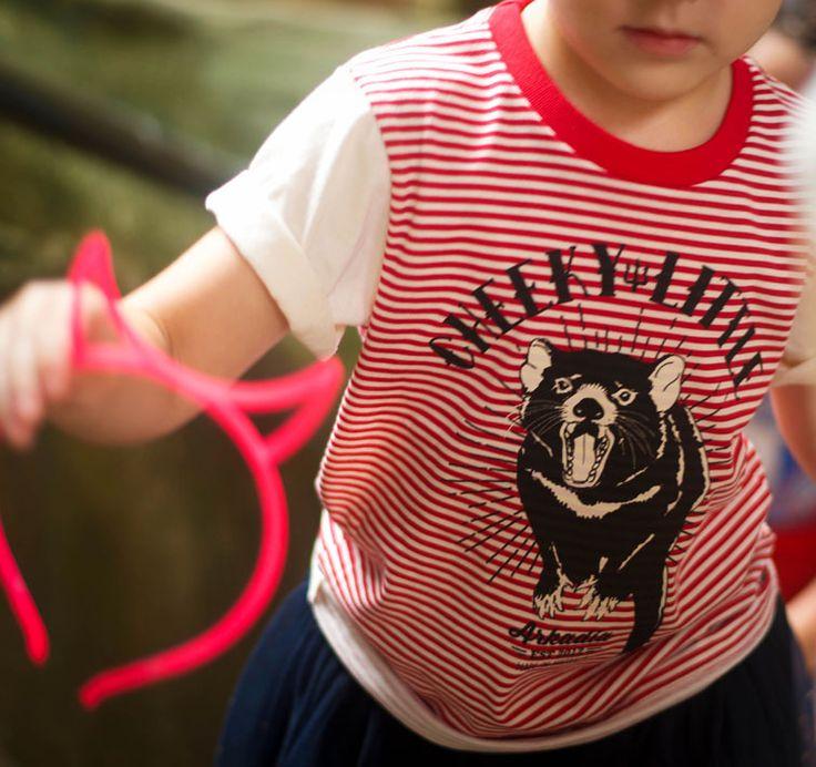 Cheeky Little design capturing the Tasmanian Devil on an Australian Made organic cotton t-shirt