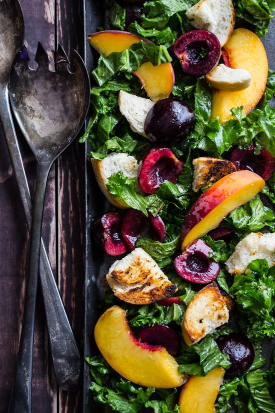 Cherry Kale Panzanella is a light but hearty dinner salad packed full of kale, cherries, peaches and crusty skillet croutons. The whole family will love it!