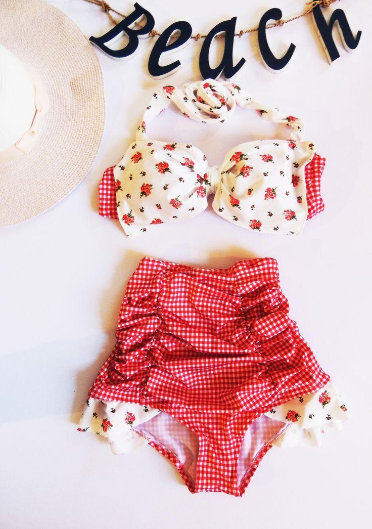 Ruffled high waisted Bow Bikini swimwear by Pita Pata Diva on Etsy
