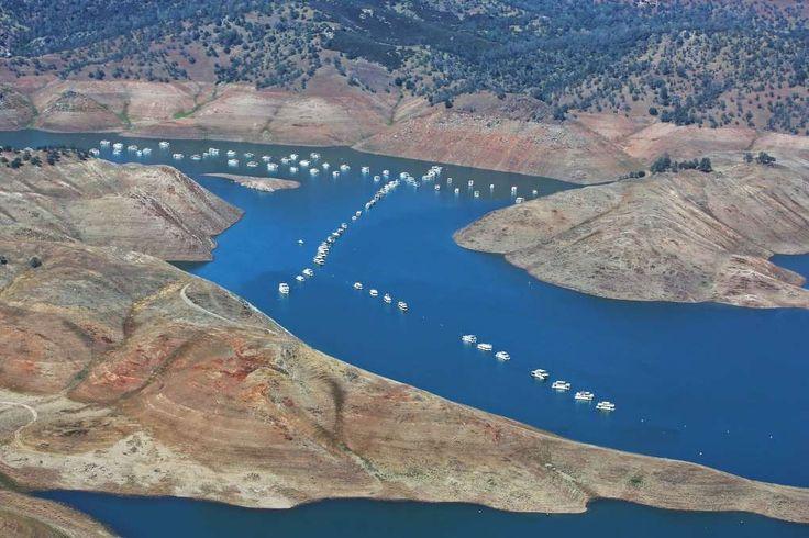 An aerial photo of Lake McClure near Merced, California, in April, 2015.