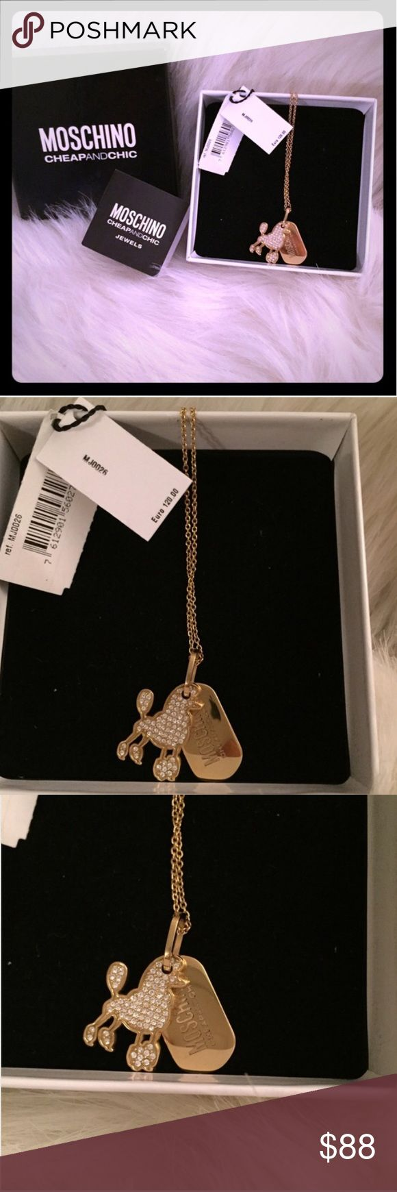Moschino NWT Dog Love Tag Gold Necklace! Beautiful new w tags! Moschino 18 carat Gold and Swarovski Crystal Dog and Moschino Logo Dog Tag necklace! Comes w accompanying gift box, necklace, price tag, and jewelry pouch! On sale now! Authentic! Purchased internationally, comes w Euro price tag on necklace. Moschino Jewelry Necklaces