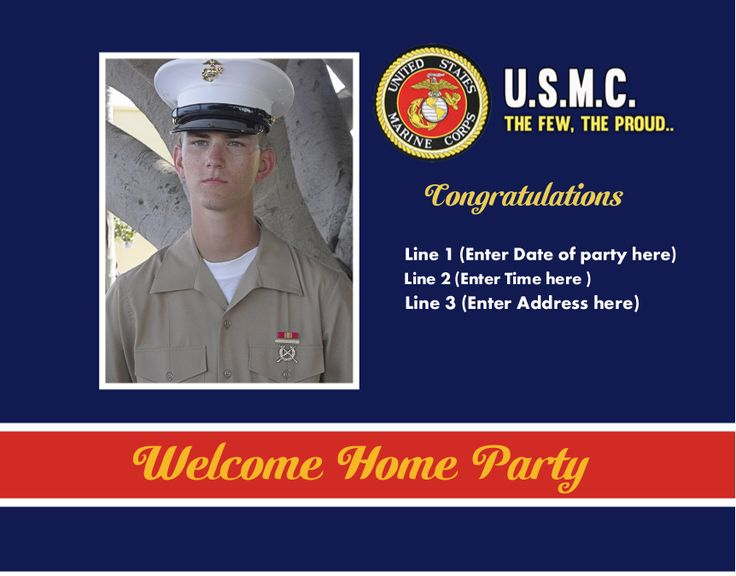 Personalize this USMC invitation with a photo and custom text for a boot camp graduation, welcome home party, retirement announcement, Christmas card, or moving announcement. Every line customizable.