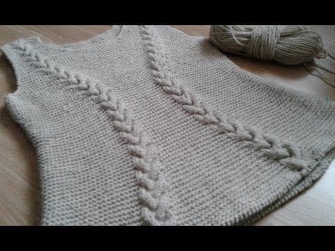 Метод непрерывного вязания спицами. Свитер с аранами. Часть 1. Кnit sweater. - YouTube