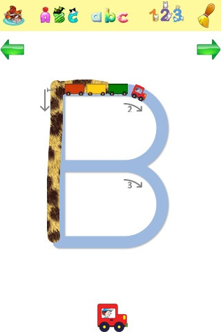 Alphabet Tracing - (free for iPad)- Trace upper and lower case letters as well as numbers. Early literacy skills: recognizing letter shapes, writing letters.
