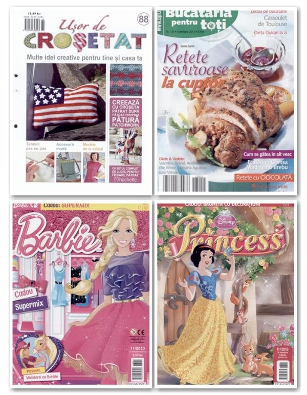 Multe reviste pentru copii apar maine, intre care titluri precum: Scooby Doo, Winx, Barbie sau Ben 10  De asemenea, alte titluri noi sunt si Bucataria pentru Toti, Catavencii sau Usor de Crosetat  Lista completa o gasiti aici: http://inmedio.ro/site/blog/reviste-noi-13-noiembrie/