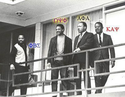 From left to right - Hosea Williams (Phi Beta Sigma), Jesse Jackson (Omega Psi Phi), Martin Luther King, Jr. (Alpha Phi Alpha), Ralph Abernathy (Kappa Alpha Psi).