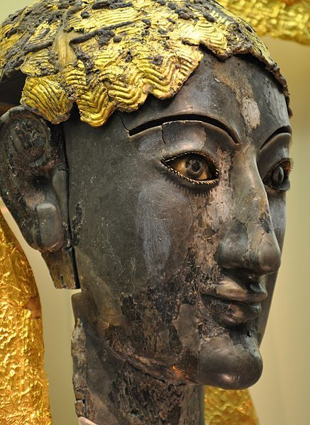 Chryselephantine Sculpture  --  Thought to be a depiction of Apollo  --  Fire-blackened ivory with gold on a wooden core  --  Greek  --  6th Century BCE  --  Belonging to the Delphi Archaeological Museum, Greece