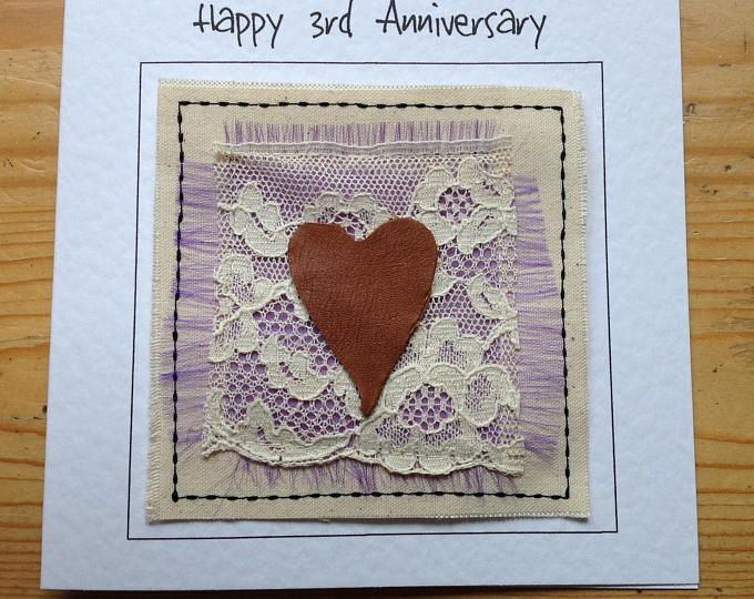 3rd wedding anniversary card with leather heart. Third Anniversary card for wife. Handmade textile card with your words printed