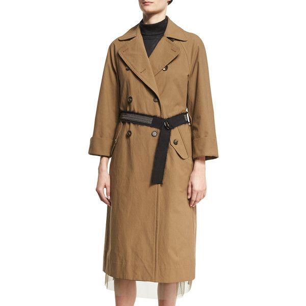 Brunello Cucinelli Double-Breasted Cotton Trench Coat with Belt ($4,495) ❤ liked on Polyvore featuring outerwear, coats, light brown, brown long coat, fur-lined coats, button coat, long coat and long belted coat