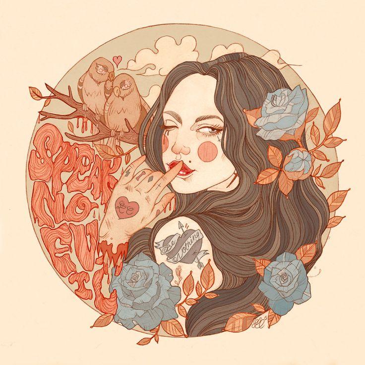 Liz Clements desenha lindas garotas, cheias de tatuagens e atitude. O detalhamento de cada ilustração, que vai dos cabelos coloridos até a arte na pele, são o que fazem sua obra única.