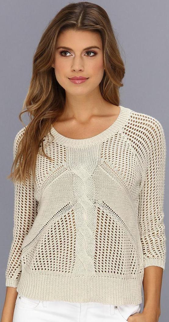 Autumn Cashmere Women's Raglan Sweater w Pointelle Stitching