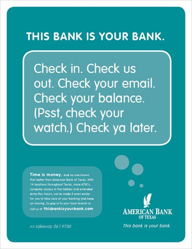 ABT offers the charm of a small town bank with the resources of a large financial institution. This new integrated branding campaign highlights their ability to deliver personalized attention to customers across the bank's 17 branches in Austin and the Texas Hill Country.