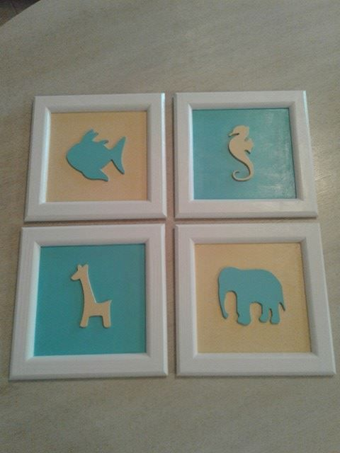 frames for nursery room - set of four - home decor - nursery room