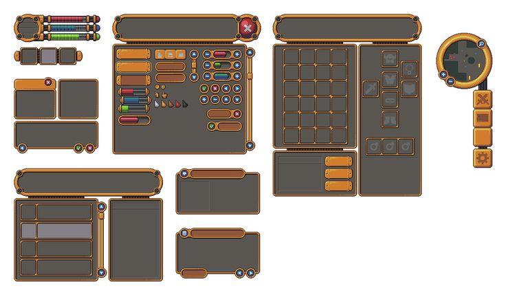 Pixel art RPG Golden UI by buch415