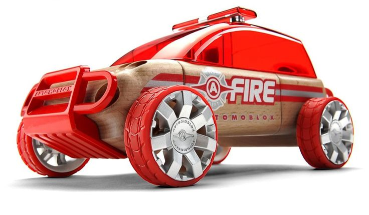 The Automoblox X9 fire SUV features bold, painted front and rear push bars, a rugged new wheel design, and a simplified roof aesthetic that incorporates a slim light bar. Designed to be pulled apart and rebuilt. The removable connectors allow the wooden body parts to be exchanged using a shape and color system unique to each vehicle.  The design of these connectors provides a fun and educational teaching tool for building skills in shape recognition, color matching, and fine motor skills. 3+
