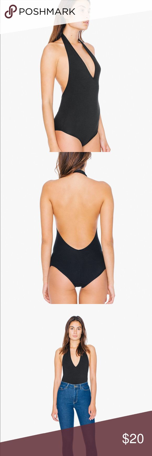 American Apparel Black Halter Low Cut Bodysuit Cotton spandex bodysuit by American Apparel. NWOT. Low V front and low back. Retails $35 American Apparel Tops Tank Tops