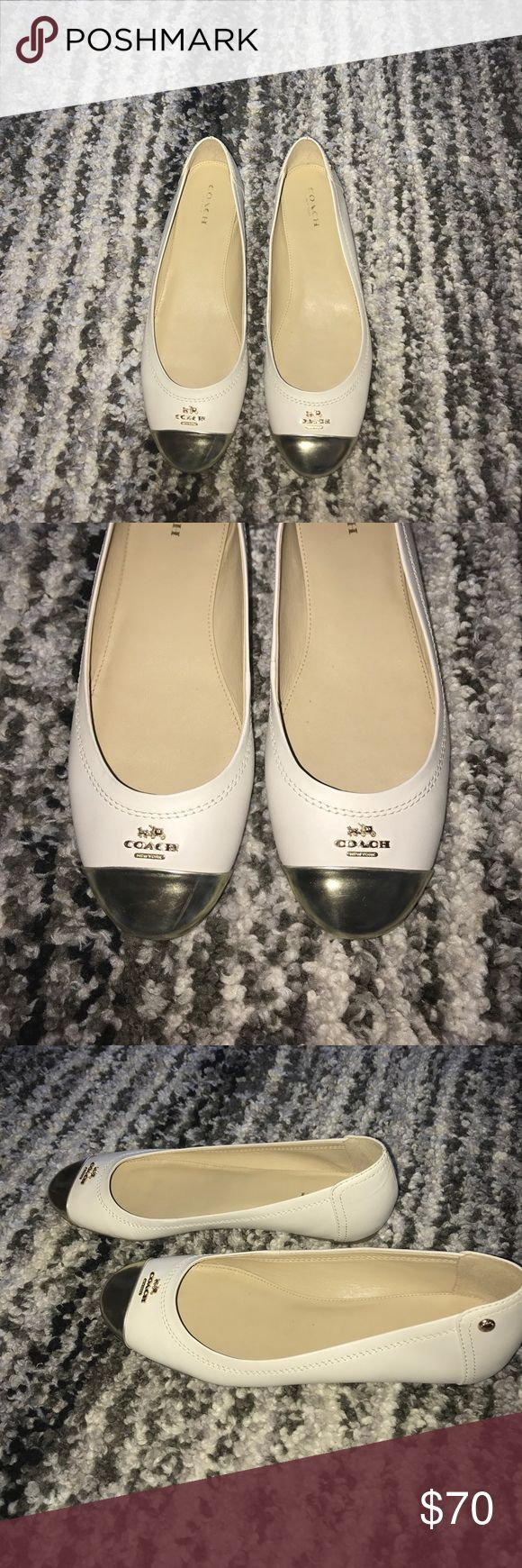 💜💜 OFFERS!! - Coach flats!! White and gold authentic Coach flats in great condition!! Coach Shoes Flats & Loafers