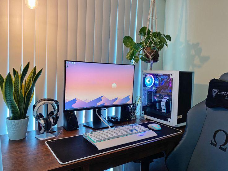 Gaming Desk Setup, Best Gaming Setup, Gamer Setup, Computer Setup, Pc Setup, Office Setup, Bedroom Setup, Room Ideas Bedroom, Video Game Rooms