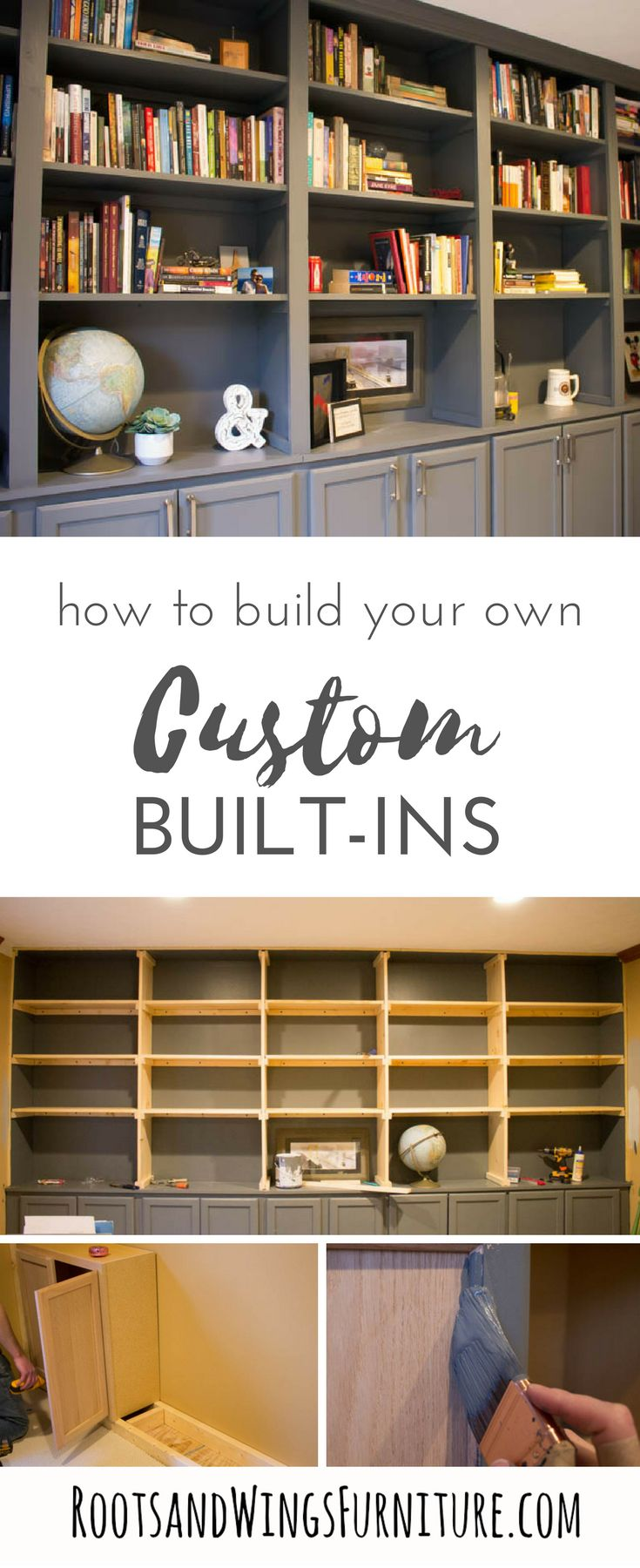 DIY wall to wall book cases. Use kitchen cabinets as a base and build a whole wall of built-ins for your home office. Add tons of storage and character. Tutorial by Jenni of Roots and Wings Furniture. #customcabinets