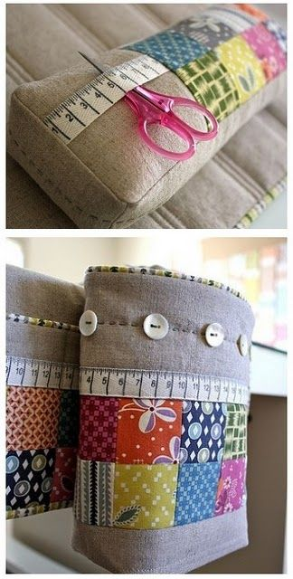 super cute pin cushion and matching thread catcher - love the hand stitching and buttons!