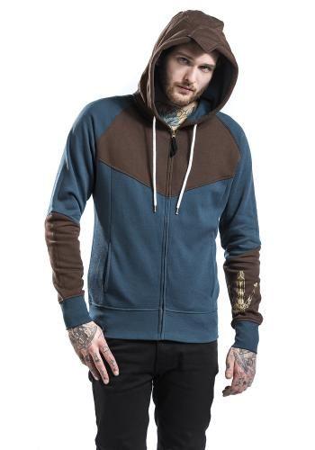 """Felpa uomo blu """"Unity"""" di Assassin's Creed dotata di cerniera, due tasche laterali, orlo e polsini a costine, inserti in tessuto marrone su maniche, petto, schiena e cappuccio, coulisse bianca, ampia stampa in bianco sul retro e stampa sulla manica sinistra. Il cappuccio è particolare e ricrea il look tipico di Assassin's Creed."""