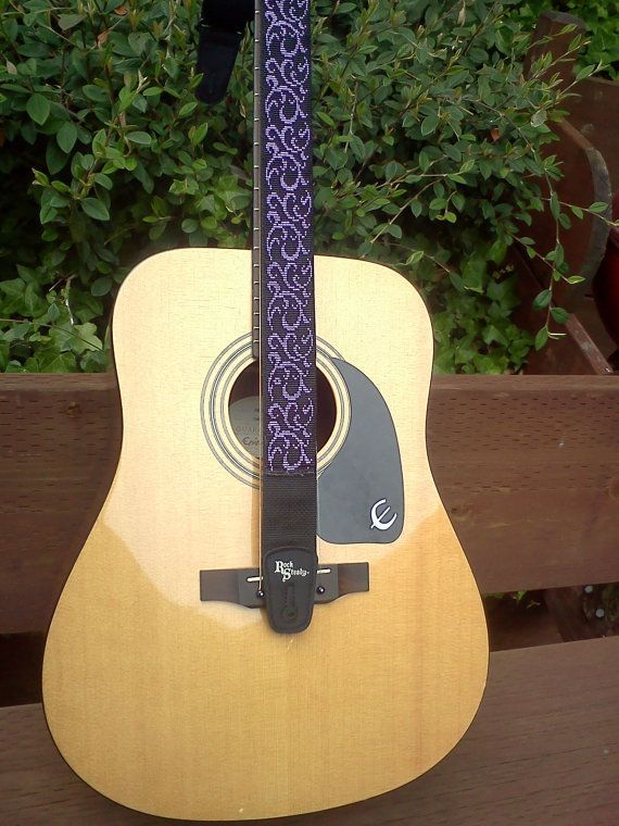 Custom designed beaded guitar straps  Purple by SecondWindBeadArt, $200.00