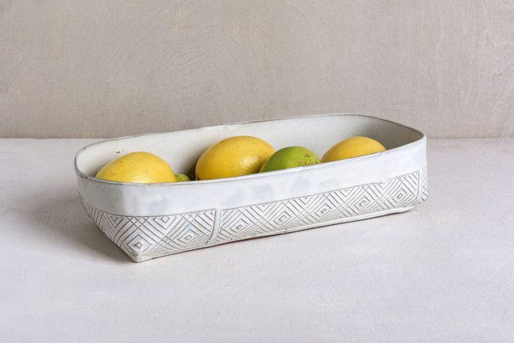 Ceramic Baking Dish, White Kitchen Bakeware, Lasagna Dish, Modern Cake Pan, Ceramic Bread Pan, Unique Pie Dish,Serving Dish ,Stoneware Dish by FreeFolding on Etsy