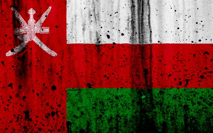 Download wallpapers Omani flag, 4k, grunge, flag of Oman, Asia, Oman, national symbols, Oman national flag