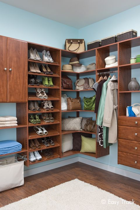 display and organize your shoes and handbags easy track closet in cherry walk in closets. Black Bedroom Furniture Sets. Home Design Ideas
