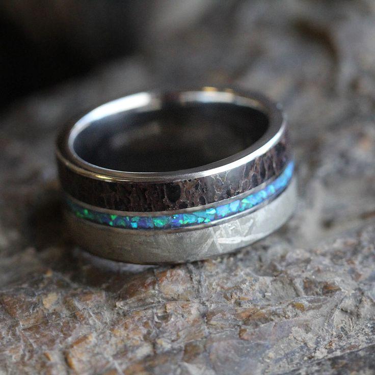 Opal Wedding Band, Meteorite And Dinosaur Bone Ring-3477