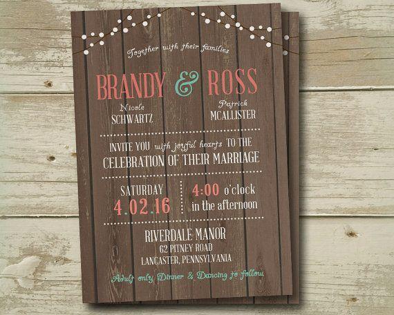 wood any color Wedding Invitation Invitations Invite Invites Country Beach
