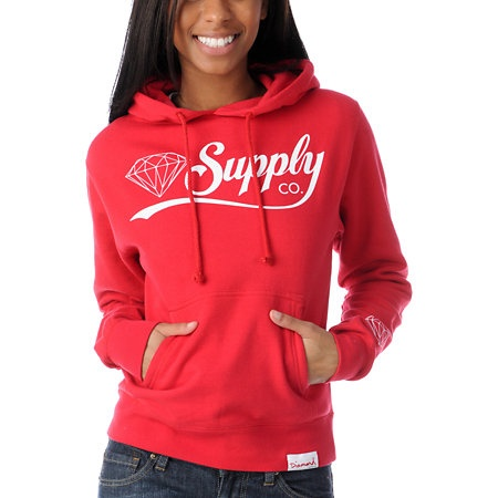 Diamond Supply Diamondaire Girls Red Pullover Hoodie