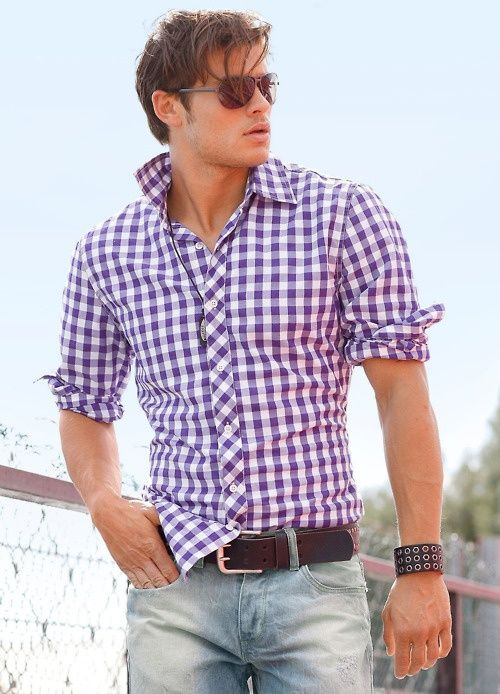 Love a fitted purple checkered shirt