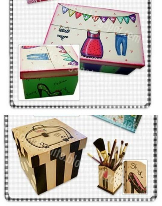 cajas pintadas por quiero algo bonito!!