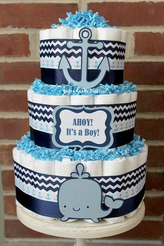 3 Tier Nautical Diaper Cake, Ahoy It's A Boy Baby Shower, Nautical, Sailboat…