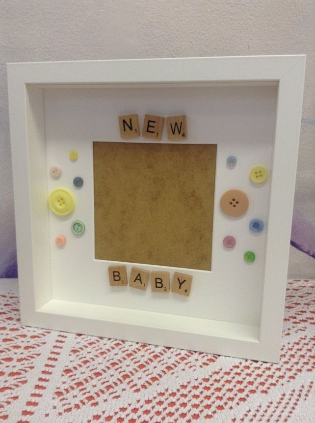 New baby scrabble & button photo frame