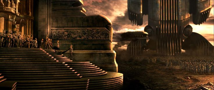 Emperor Shadam IV inspects his Sardaukar after the landing on Arrakis (Scene from The Chronicles of Riddick)