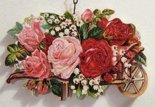 VICTORIAN WHEELBARROW of ROSES, FLOWERS ~ VALENTINE ORNAMENT ~ Vtg Image