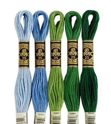 DMC Cotton Embroidery Floss (color chart with names:  http://www.camelia.sk/dmc_1.htm)