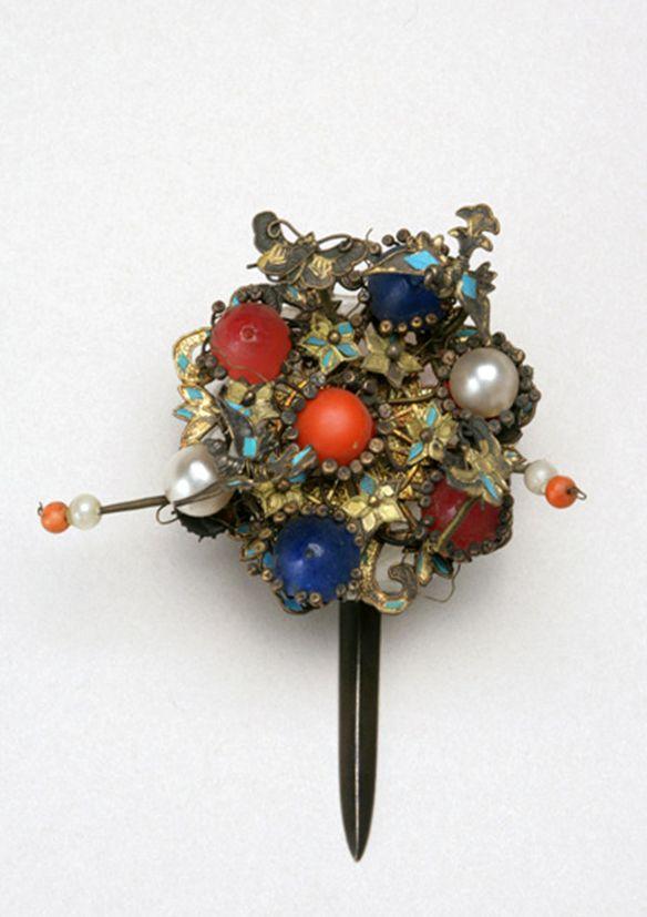 Korea | Tteoljam (ornamental hairpin); Silver, pearl, coral, jade, glass | 14th Century - 20th Century; Joseon Dynasty (1392-1910)