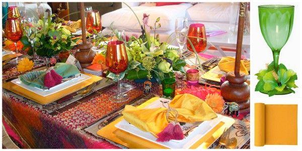 Bollywood Beach Halloween Party Table Setting