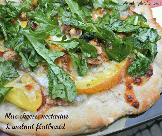 blue cheese, nectarine and walnut flatbread by Heather@MamaSass, via Flickr so looking forward to trying this baby out