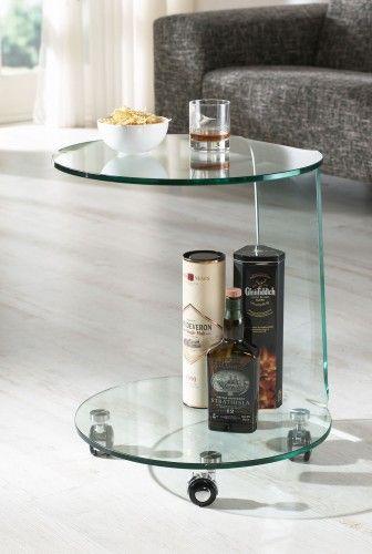 glazentafel.com | Glazen Bijzettafel Boston | 3500 Curved Series Safety Glass | Gebogen hardglazen bijzettafel. Deze glazen bijzettafel is voorzien van wieltjes en kan eenvoudig worden verplaatst. U kunt deze glazen bijzettafel tevens gebruiken als nachtkastje | Afmetingen in cm: 50x50xh62 | Dikte: 12mm  in helder glas |