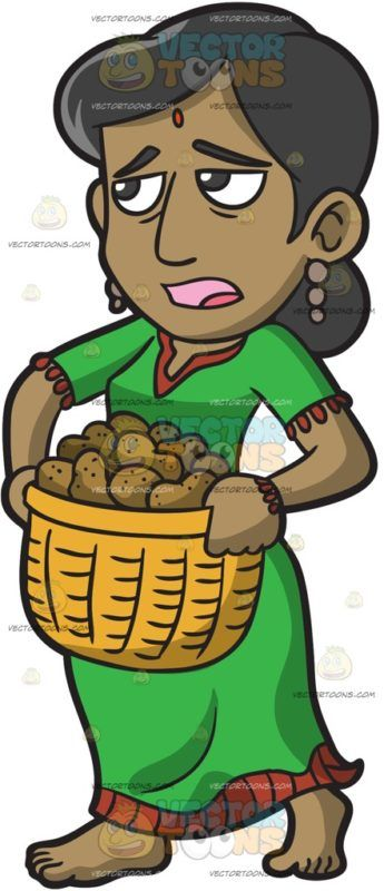 A Female Polynesian Slave Carrying A Basket Of Potatoes :  A woman with black hair light brown skin and a red mark on her forehead wearing a pair of brown dangling earrings green with red traditional dress parts her lips while carrying a yellow basket filled with potatoes