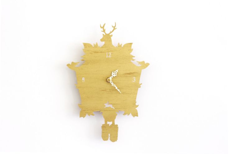 Gold Cuckoo Clock SALE  - Modern Gold Wall Clock by iluxo on Etsy https://www.etsy.com/listing/202459681/gold-cuckoo-clock-sale-modern-gold-wall