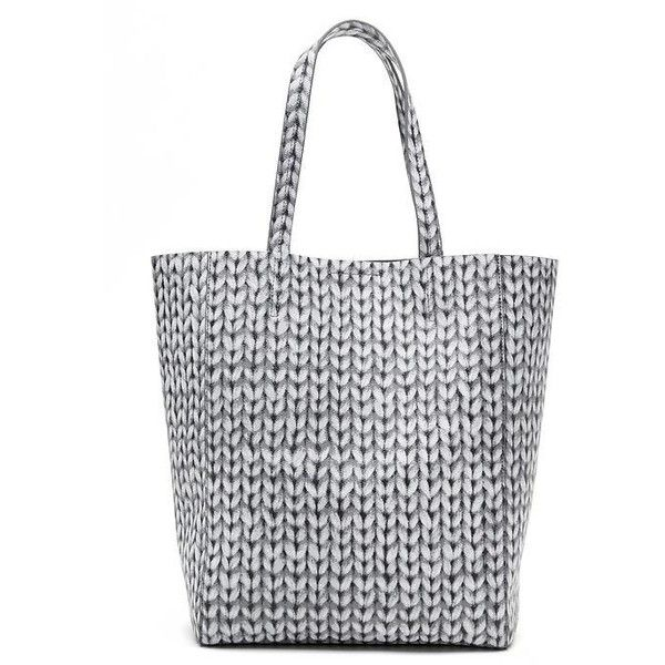 """See this and similar Banana Republic tote bags - Sweater print faux leather tote. Shiny nickel hardware. One inner pocket. Measures 11 1/4"""" x 14 3/4"""" x 6 1/4""""...."""