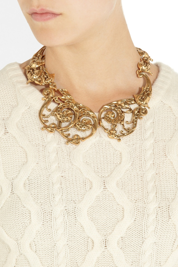 Oscar de la Renta|24-karat gold-plated scroll necklace|NET-A-PORTER.COM  DJ: Now here's a bib I could live with. If only it weren't plated. But, not at today's gold prices. Fabulous, collectible.